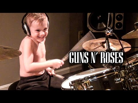 Six Year Old Drummer Plays