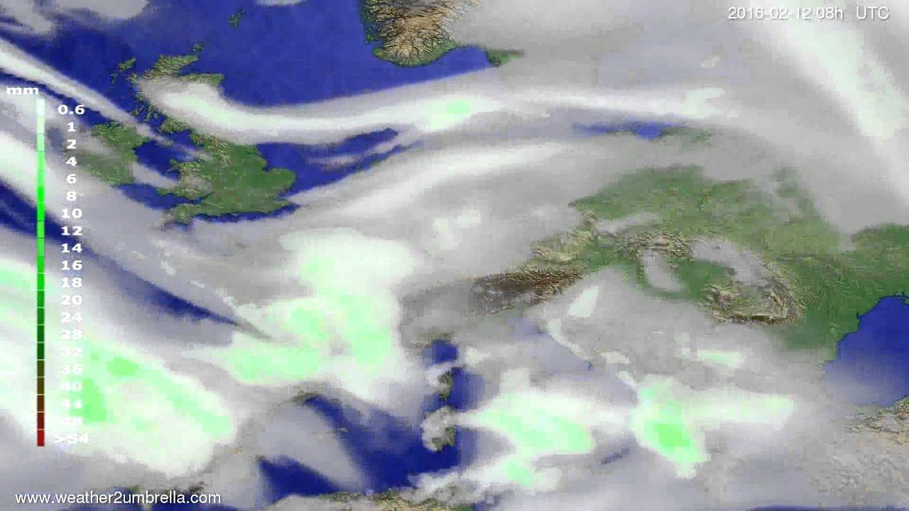 Precipitation forecast Europe 2016-02-09