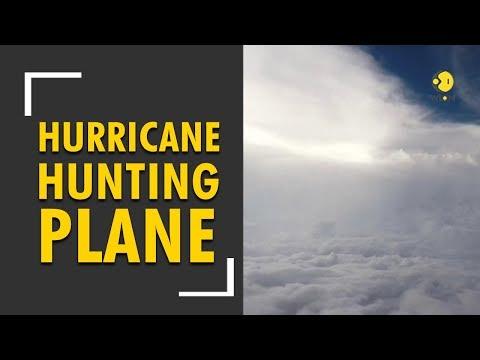 A hurricane-hunting aircraft flies straight through hurricane Florence eye