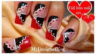 Red And Black Abstract Nail Art | Nail Art For Long Nails♥