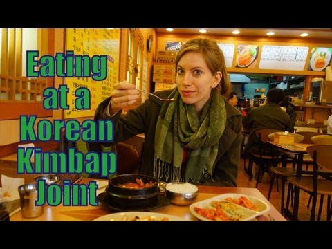 Eating Kimchi Fried Rice and Korean Tuna Soup at a Kimbap Restaurant