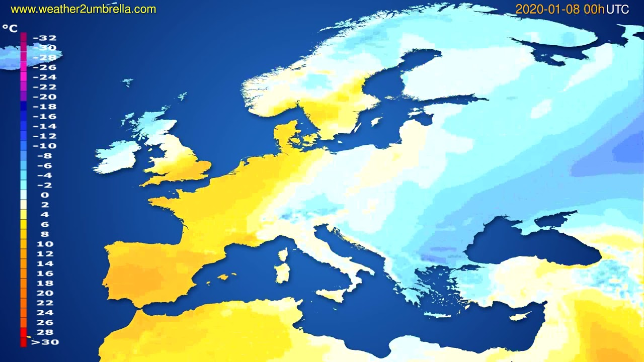 Temperature forecast Europe // modelrun: 00h UTC 2020-01-07