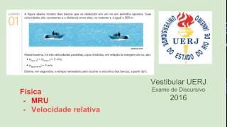 Resolução da questão 1, da prova de física do Vestibular da UERJ, exame de discursivo, para o ano letivo de 2016 Cinética MRU - Movimento Retilíneo Uniforme ...