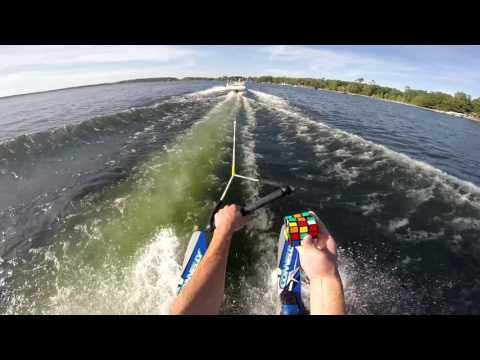 Man Solves a Rubik  s Cube While Water Skiing