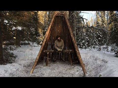 Solo Winter Bushcraft Shelter Build - Building a Log Home in the Canadian Wilderness (Pt. 2/4)