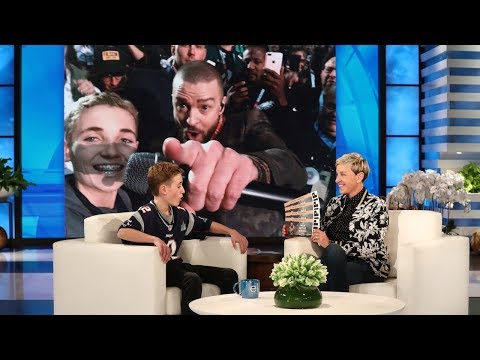 0 - Enjoy The Super Bowl Selfie Kid Get A Surprise Phone Call From Justin Timberlake On Ellen!
