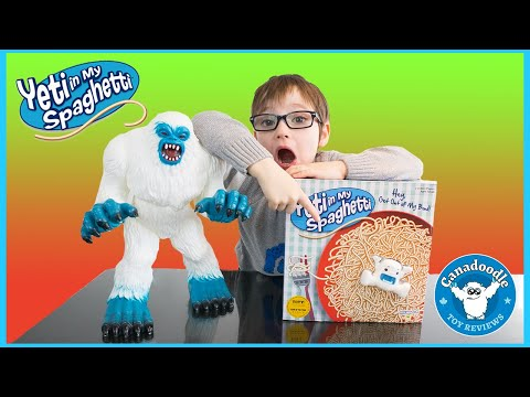 GIANT YETI SPAGHETTI CHALLENGE! Yeti In My Spaghetti Game   Canadoodle Toy Reviews