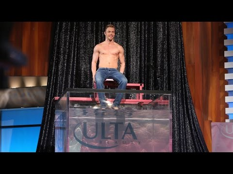 gets - The handsome dancer-turned-actor got in Ellen's dunk tank to raise money for breast cancer research, and to flash those abs!