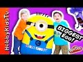 Worlds BIGGEST Minion Egg Surprise! Play-Doh, Giant Toys Inside + Despicable ME Candy HobbyKidsTV