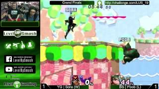 Level Up Smash 1.9 Grand Finals, Sora busts out his Captain Falcon against Poob! Check us out live at 6:30 tomorrow!