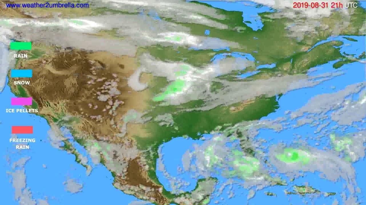 Precipitation forecast USA & Canada // modelrun: 00h UTC 2019-08-30