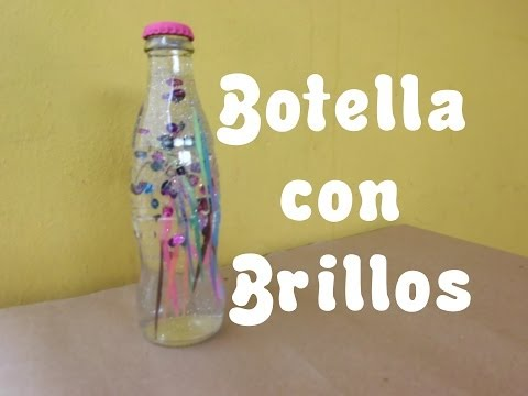 Botella de Vidrio con Brillos / Regalo-Decoración