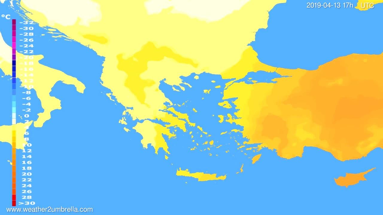 Temperature forecast Greece // modelrun: 00h UTC 2019-04-12