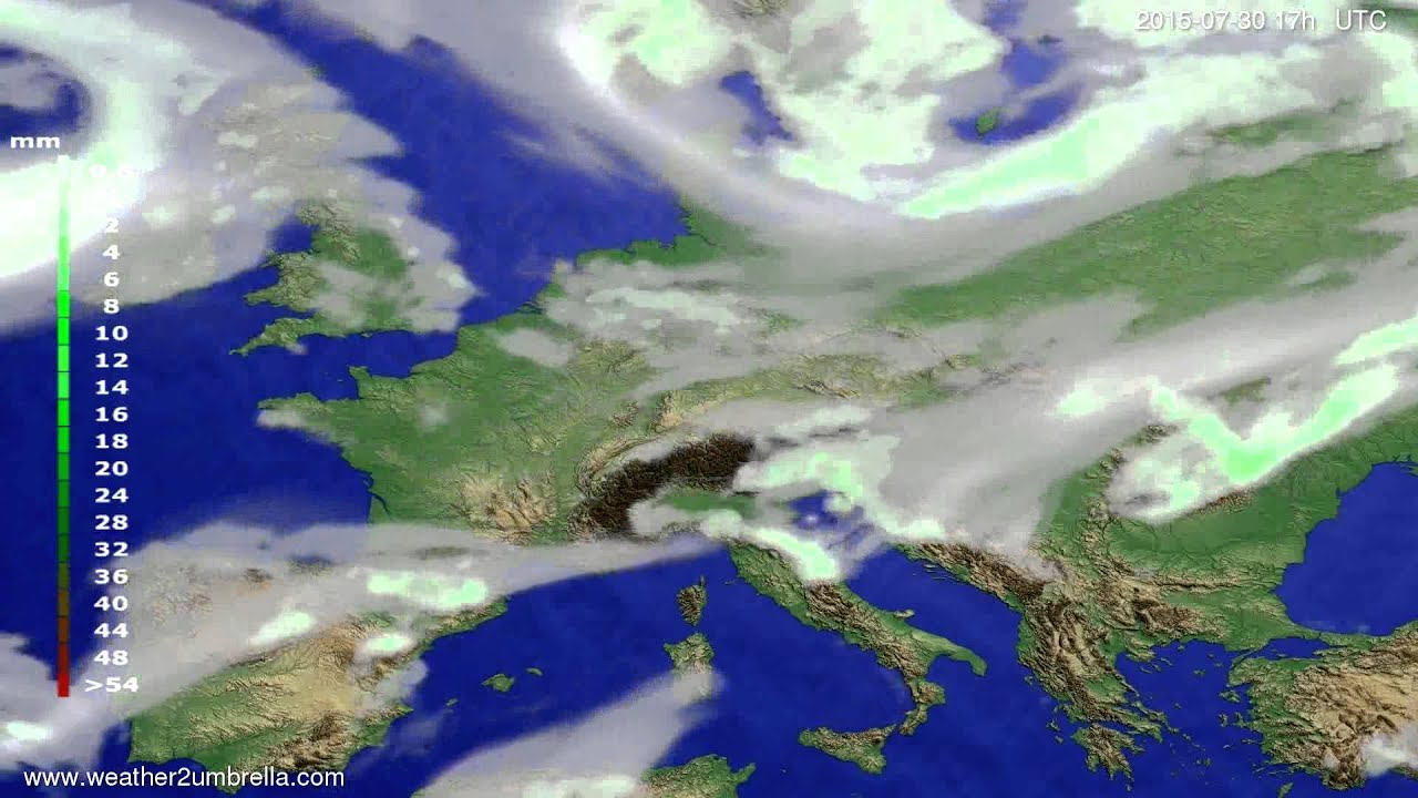Precipitation forecast Europe 2015-07-27