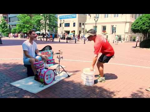 Grown Man Has Way Too Much Fun Playing a Hello Kitty Drum Set