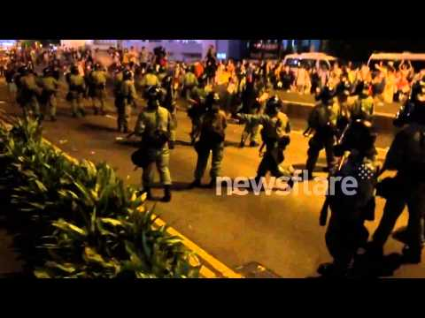 Riot Police Clash With Protestors In Hong Kong
