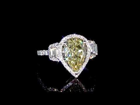 GIA Certified 2.70ct Fancy Intense Yellow Diamond Ring