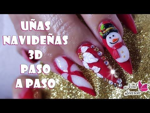 Uñas decoradas - Uñas navideñas 2018 diseño caramelo flor y muñeco de nieve 3D paso a paso