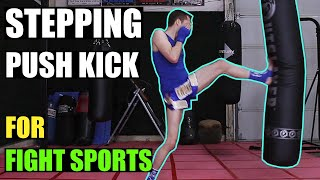 How to Push Kick tutorial - stepping lead leg (aka Stomp Kick, Cut Kick, Pushing Front Kick, Thrust Kick & Teep Kick). For use in Kickboxing, MMA, Taekwondo, Karate, Muay Thai, Kung Fu, Self-Defense, or any other full-contact Martial Arts.This is a basic level body & head kick technique that requires lower levels of practice, fitness and flexibility to execute.--------------------------------Subscribe to my channel for more tutorials:http://www.youtube.com/kwonkickerHelp support my channel on Patreon:http://www.patreon.com/kwonkickerKwonkicker's Facebook Page:http://www.youtube.com/kwonkickerofficial