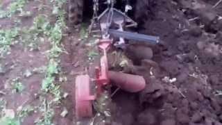 Мини-трактор Беларус-132Н пашет двухкорпусным плугом.