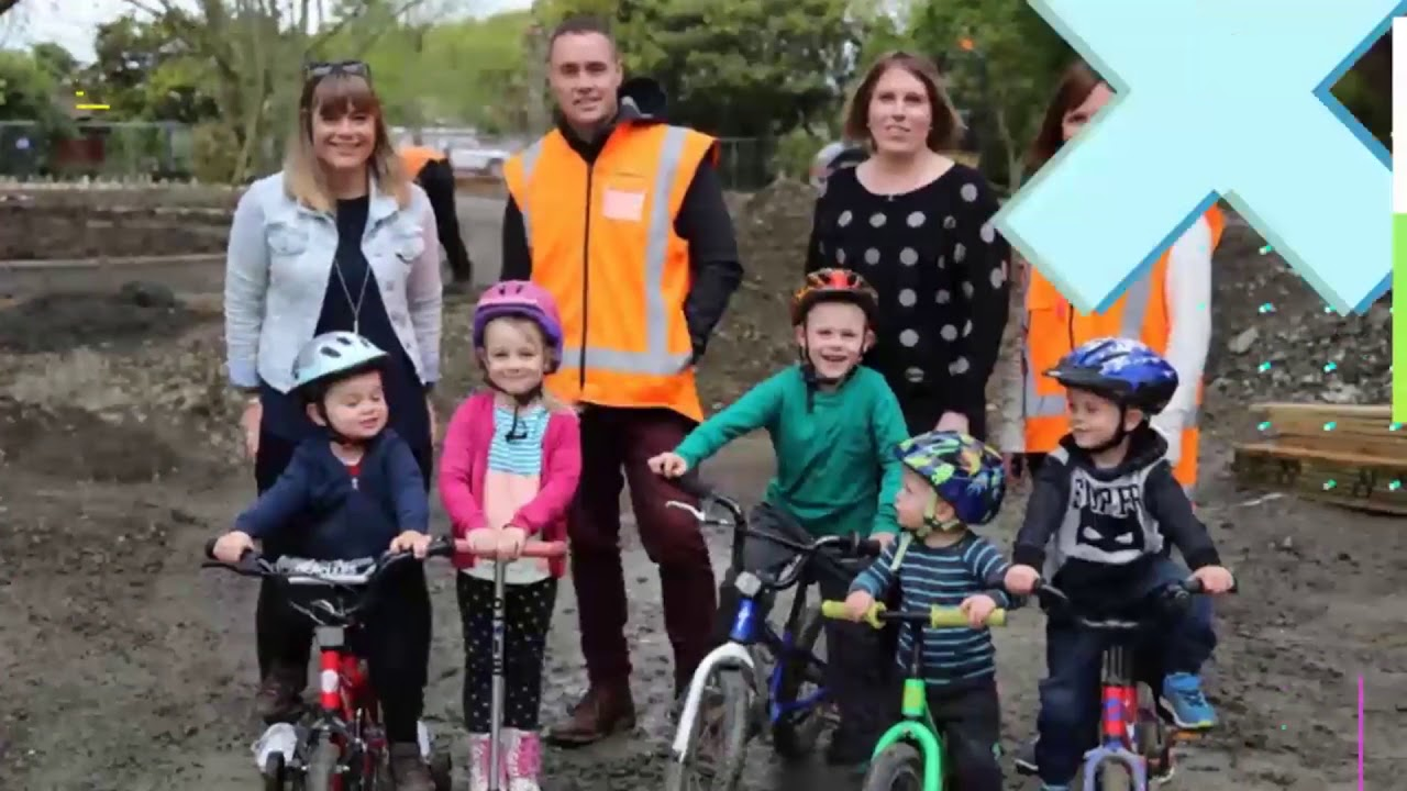 YouTube placeholder image shows mums and kids on bikes on the site of the bike park, pre-build.