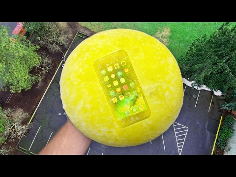 Can iPhone 7 Survive 100 FT Drop Test Frozen in Mountain Dew? Frozen Two Months!! (видео)