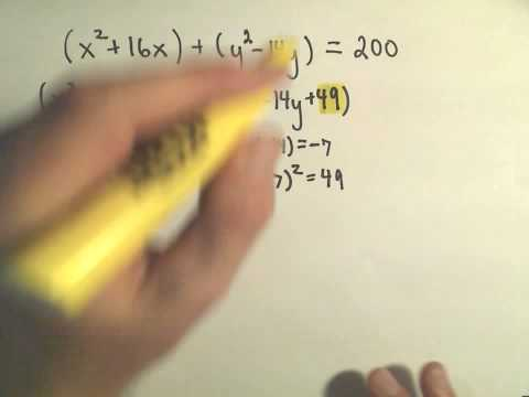 patrickJMT - Finding the Center-Radius Form of a Circle by Completing the Square - Example 1.