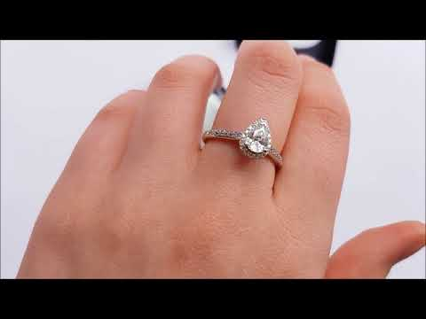 Pear Shaped CZ Halo Style Ring in Silver