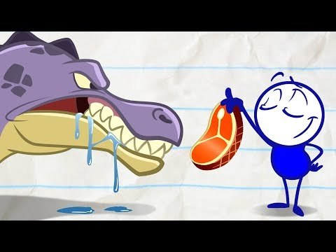 Pencilmate Meets a Dinosaur! - Pencilmation Cartoons for Kids