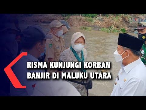 Risma Kunjungi Pengungsi Banjir di Halmahera Utara