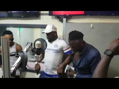 "HUMBLESMITH AND HARRYSONG DOING 'CHANGE"" DANCE STEP AT SOUNDCITY RADIO."