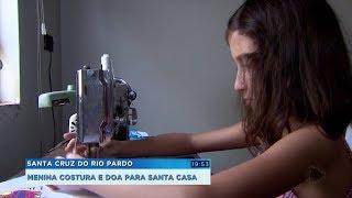 Menina de oito anos vende as próprias costuras para ajudar hospital que cuidou da avó