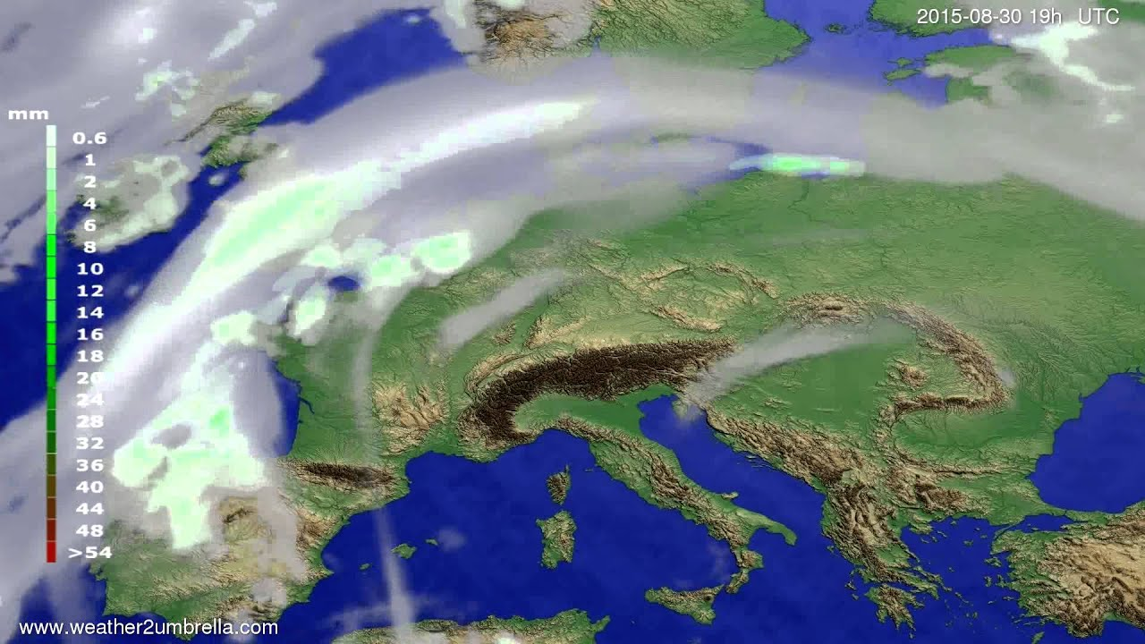 Precipitation forecast Europe 2015-08-28