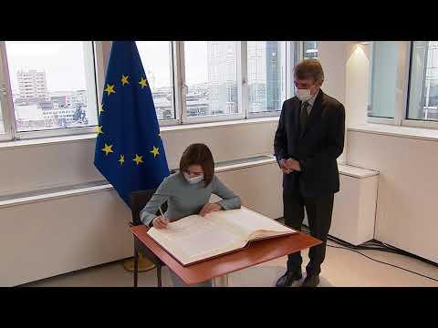 Președintele Republicii Moldova, Maia Sandu, a avut o întrevedere cu Președintele Parlamentului European, David Sassoli