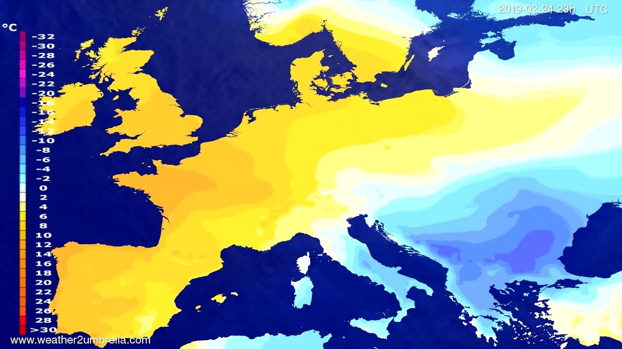 #Weather_Forecast// Temperature forecast Europe 2019-02-23