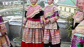 Flower Hmong girls at Sunday market, Bac Ha, Vietnam