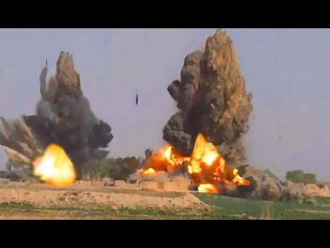 bombs - NEW VIDEOS Apache, AC-130, and Drone kill cam videos here - http://vid.io/xGB JDAM bombs are dropped on Taliban munitions and IEDs. Area was cleared of all p...