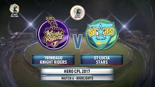 CPL T20 2017 | MATCH HIGHLIGHTS | TRINBAGO KNIGHT RIDERS vs ST LUCIA STARS