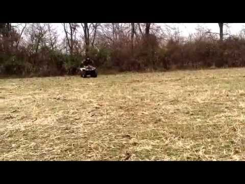 Some trick riding on quad 2 wheels