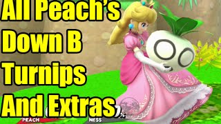 All Peach's Down B Turnips (Vegetables) in Super Smash Bros Wii U