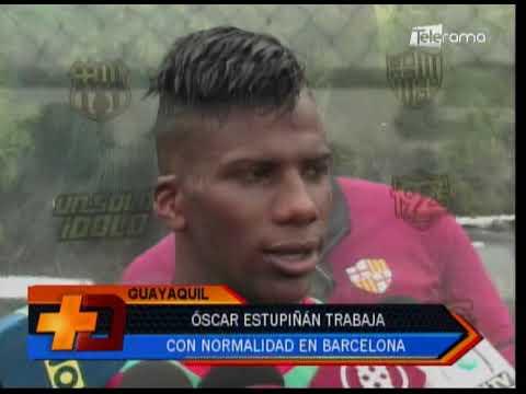 Óscar Estupiñan trabaja con normalidad en Barcelona