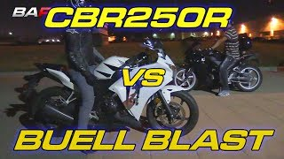 Two Honda CBR250R's vs XB Top Swapped Buell Blast . This video is just for fun on our commuter bikes, we will be releasing a bunch of cool car videos soon we are slowing getting back on track after legal issues. Thanks for staying subbed!