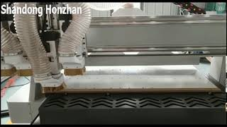 Honzhan HZ-R1325F Four heads pneumatic woodworking cnc router cutting machine for wood panel, door youtube video