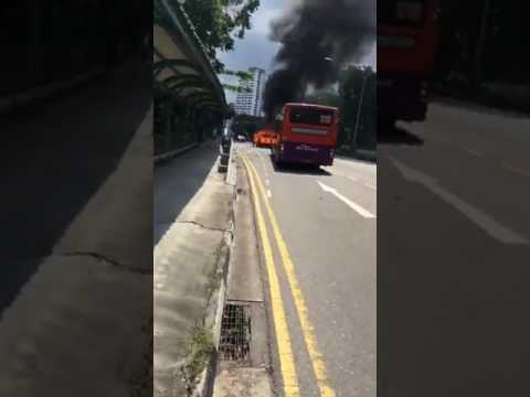 Singapore burning car ends up in a big explosion