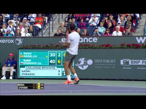 Shot - Rafael Nadal punctuates this marathon rally against Radek Stepanek with a sizzling backhand Hot Shot. Watch live matches on TennisTV.com.