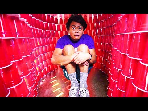 BUILDING A GIANT RED CUP IGLOO! I got injured