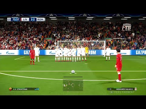 UCL | LIVERPOOL FC Vs AS ROMA | MOHAMED SALAH FREE KICK GOAL | PES 2018