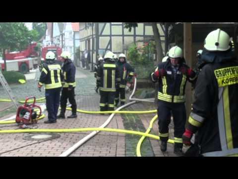 Korbach: Wohnhaus in der Altstadt brennt