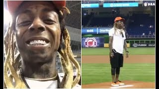 Lil Wayne Scared To Throw First Pitch At Miami Marlins Baseball Game