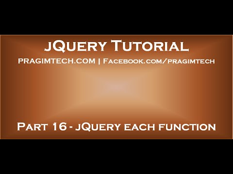 JQuery Each Function